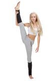 Vertical splits. Caucasian fitness girls Stock Photography