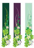 Vertical Spring Banner with blooming clovers Stock Image