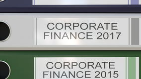 Vertical stack of multicolor office binders with Corporate finance tags different years. Vertical stack of multicolor office binders with Corporate finance tags stock illustration