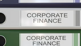 Vertical stack of multicolor office binders with Corporate finance tags. 4K seamless loop animation royalty free illustration