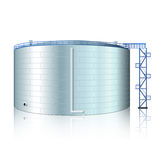 Vertical steel tank with reflection Stock Image