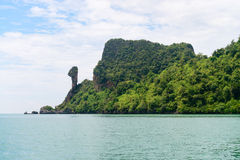Vertical stone cliff column on Chicken Island Krabi, Thailand Royalty Free Stock Photos