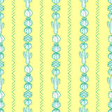Vertical striped style of cactus and succulents in green outline Stock Photos