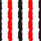 Vertical stripes painted with rough brush. Seamless pattern. Grunge, sketch, watercolour, graffiti. Vector illustration for designe. Red, black, white colour Royalty Free Stock Image