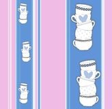 Vertical stripey pattern with stack of towering cups Stock Images
