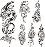 Vertical stylized dragon tattoos Royalty Free Stock Image