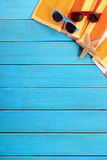Vertical summer beach background blue wood deck copy space Stock Photo
