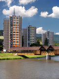 Colonnade bridge and flats in Bysterec Stock Photography