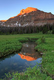 Vertical sunrise in the Uinta Mountains, Utah. Sunrise with Ostler Peak in the Uinta Mountains, Utah, USA stock photos