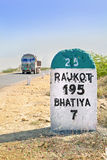 195 kilimeters to Rajkot Milestone Stock Photography