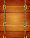 Vertical template on wooden background with ropes Royalty Free Stock Photography