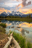 Vertical Teton Burning Sunset Stock Photos