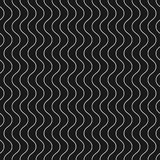 Vertical thin wavy lines vector seamless pattern. Dark geometric. stock illustration