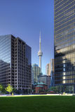 Vertical of Toronto skyscrapers with CN tower in background Stock Images