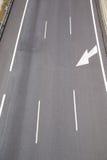 Vertical trzy pasów ruchów autostrada Zdjęcie Stock