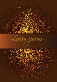 Vertical vector background in golden tones. Vector background in golden tones.Banner for text. Spraying gold particles Royalty Free Stock Images