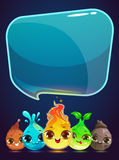 Vertical vector banner with little cute monsters. And speech bubble, vector illustration Stock Photography
