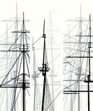 Vertical vector banners of ship's masts and sailyards. Royalty Free Stock Photos