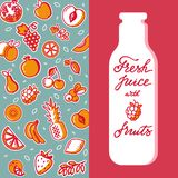 Vertical vector pattern of fruit for design of product in the bottle. stock illustration