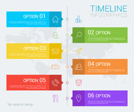 Vertical vector timeline info graphic with line icons Royalty Free Stock Images