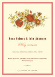 Vertical vector vintage wedding invitation. Royalty Free Stock Photography