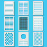 Vertical ventilation shutters. Illustration of vertical ventilation shutters. Set ventilation shutters different type. Isolated vector illustrations. Vector Royalty Free Stock Images