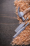 Vertical version of claw hammer and metal flat Royalty Free Stock Image