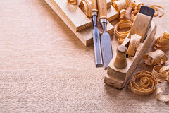 Vertical version organized copyspace joinery tools Stock Photo