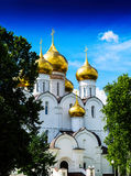 Vertical vibrant Russian orthodox temple Royalty Free Stock Photo