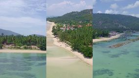 Vertical Video for Social Media Applications on Mobile Devices. Aerial View of Palm Tree Coast Line with Sandy Beach by. Tropical Sea in Thailand shot with a stock video footage