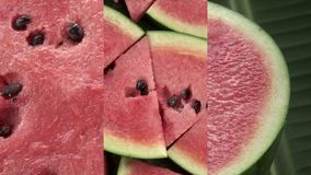 Vertical Video for Social Media Applications on Mobile Devices. Fresh Raw Exotic Tropical Thai Fruit Watermelon. Citrullus lanatus Rotating on Banana Leaf shot stock video