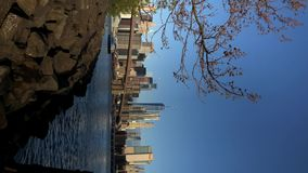 Vertical video. View at Manhattan and Hudson stock video footage