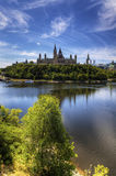 Vertical view of Canada's Parliament by the Ottawa River Stock Images