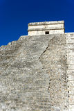 Vertical View of Chichen Itza Pyramid. Vertical view of the El Castillo pyramid in the ancient Mayan ruins at Chichen Itza, Mexico Royalty Free Stock Photos