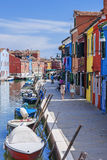 Vertical view of colorful street in Burano Stock Images