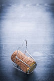 Vertical view on cork of champagne with wire Royalty Free Stock Photography