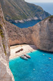 Vertical view of crowded Navagio Beach on Zakynthos Royalty Free Stock Photo