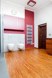 Vertical view of a designed bathroom. With wooden floor royalty free stock photography
