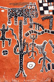 Vertical view of Dogon artwork on a building Royalty Free Stock Photos