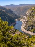 Vertical view of Donnells Dam in the Sierra Nevada mountain range royalty free stock photography