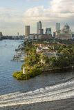 Vertical view of downtown Tampa, Florida. With expensive homes in the foreground stock image