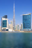 Vertical view of Dubai skyline with blue sky Royalty Free Stock Photo