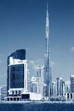 Vertical view of Dubai skyline, special photographic processing Royalty Free Stock Images