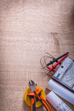 Vertical view electrical tools multimeter tester Royalty Free Stock Images