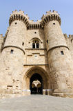 Vertical view for entry gate to Rhodes castle Stock Images