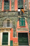 Vertical View of the Facade of an Ancient Coloured Building. Vernazza, Italian National Park of the Cinque Terre stock images
