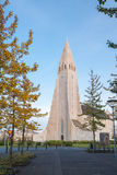 Vertical view of famous Hallgrimskirkja. Royalty Free Stock Photography