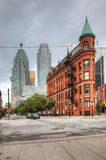 Vertical view of The Flatiron building in Toronto, Canada Royalty Free Stock Photography