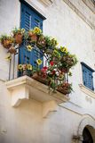 Vertical View of Flowered Balcony. Matera, South Of Italy Stock Photography