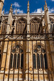 Vertical view of flying buttresses in the cathedral of Leon Spai Royalty Free Stock Photos